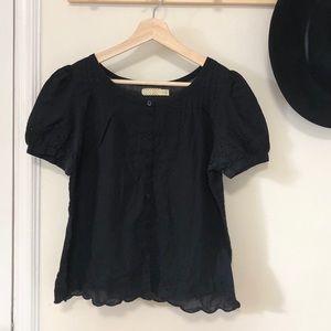 Pins & Needles black cotton eyelet blouse M